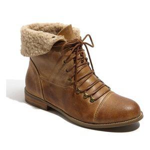 Miz Mooz Hiro Bootie Distressed Tan Camel Leather